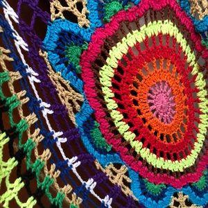 Rainbow Rave crochet vest